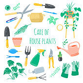 Vector set hand drawn illustrations of gardening and care of house plants. Cute garden tools work hand drawn elements. Spring time
