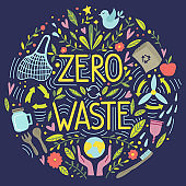 Zero waste concept, recycle and reuse, reduce - ecological lifestyle, set with lettering