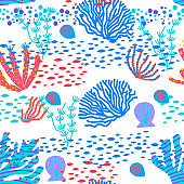 Vector seamless pattern of colorful underwater ocean coral reef plants, corals and anemones.