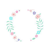 Template of hand drawn floral wreaths with leaves, flowers. Round frame. Creative decorative elements. For valentines day, stickers, wedding, birthday