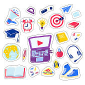 School Doodle vector set. learning of foreign languages. Hand drawn icons