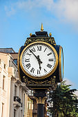 Old Street Clock In Europe.Architecture Element In The Main Square In Batumi.