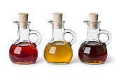 Glass bottles with different types of cooking oil