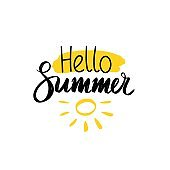 Vector illustration. Brush lettering composition of Hello Summer words on a light yellow spot with sun