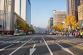 Korean Protestors Walking on the Gwanghwamun Square in Seoul Korea