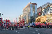 Thousands Korean Protestors Walking on the Gwanghwamun Square in Seoul Korea