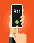 Smartphone mockup in human hand. 911 rescue phone number. Vector colorful technology illustration