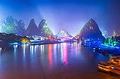 Yangshuo, China cityscape and karst mountains