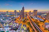 Bangkok, Thailand city skyline at dusk.