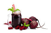 Healthy drink: beet juice isolated on white background with copy space