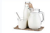 Milk bottle, jug and glass isolated on white background