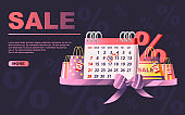 Table calendar with SALES date shopping bags and percentage symbol sale day tag flat vector illustration on dark background website page design