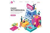 ATM Withdrawal Cash Vector Concept