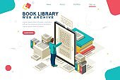 Media Book Library Template Vector