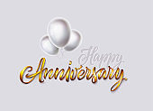 Happy anniversary card. Gold text and glossy white color balloons bunch isolated on white background. Vector banner, poster, greeting card, print for birthday or wedding celebration.