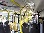 Inside an empty urban bus.