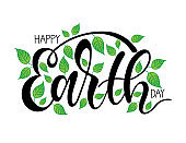 Hand sketched Happy Earth Day  typography lettering poster. Celebration quote isolated on white background for postcard, icon, logo, badge. Spring celebration vector calligraphy text with leaves.