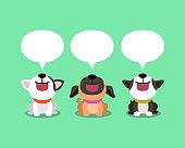 Vector cartoon cute dogs with speech bubbles