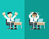 Vector cartoon a businessman expressing different emotions