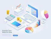 Analyze website application development vector isometric illustrations.