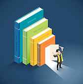 Graduate have diploma roll standing in front of the door of book. Vector isometric illustration.