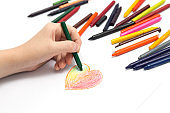 Hand drawing with colored crayons pastels
