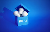 Ideas inspiration concepts with group of lightbulb in blue box on color background space.Business creativity
