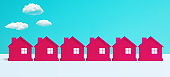 Villa or town concepts with group of red house on pastel color background.panoramic,horizontal for banner