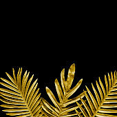 Collection of tropical leaves,foliage plant in gold color on black space background