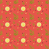 Vegetables seamless pattern on coral pastel abstract background.