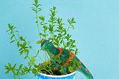 funny green plastic dinosaur between green plant leaves