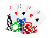 Playing cards near stack of casino 3d chips