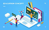 Online education page for smartphone application or digital college, school banner with man and woman student. E-learning page with notebook and people. Digital course, tutorial, information concept