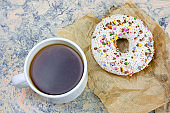 fresh hot coffee cup and sweet donut