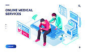 Isometric page for online medical or healthcare services. Doctor doing health diagnostic and patient man with smartphone, physician consultation or medicine check up. Smartphone application