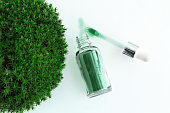 organic green oil on a circle of green moss, natural organic cosmetics concept