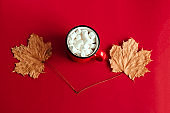 autumn maple leaves and cup with marshmallows
