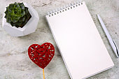 succulent in a concrete pot, red heart and open notebook with blank white sheet