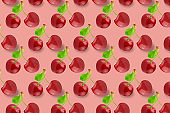 Wole cherry fruits pattern on colorful background