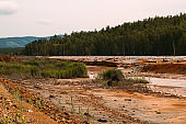 landscape with red soil polluted copper mining factory in Karabash, Russia, Chelyabinsk region, the dirtiest city on Earth