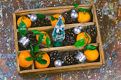 vintage wooden box with christmas decorations