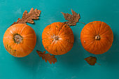 flat lay three pumpkins on a blue background