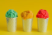 fruit ice cream or frozen yogurt in stripped    cups