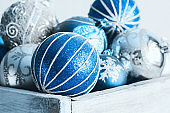 Silver and blue christmas balls in a vintage wooden box