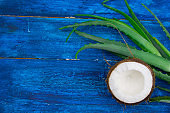 coconut and aloe vera green leaves on a blue wooden table,natural cosmetics ingredients