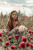 little beautiful girl sitting in a clover field at sunset during summer vacation