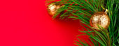 winter holidays web site banner christmas decorations top view
