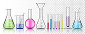 Set of isolated glassware flask or glass bottle for chemistry on transparent background. Test tube for chemical laboratory or science lab, medicine or pharmacology liquid, fluid measurement. Biology