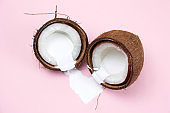 coconut with white liquid paint