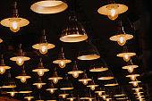 pattern of luminous bulbs